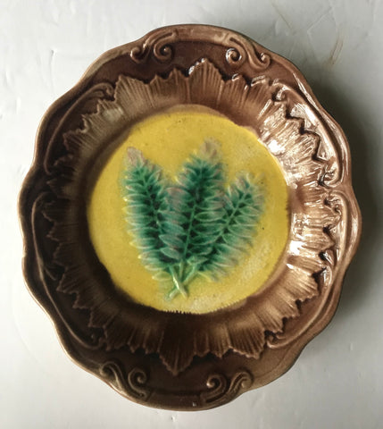 Fern Frond Leaves Antique Majolica Oval Candy Dish Plate Golds Greens Brown