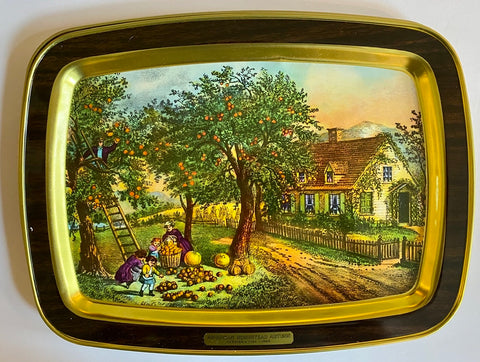 Vintage AUTUMN Pumpkin Patch Apple Picking Tole Tray American FarmHouse