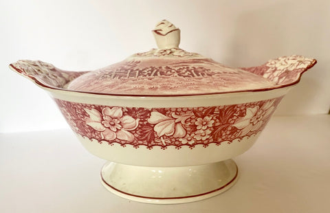 1930 Red Transferware Tureen Covered Dish Casserole Finial Rose Handle w/ Pastoral Scenery Wood and Sons