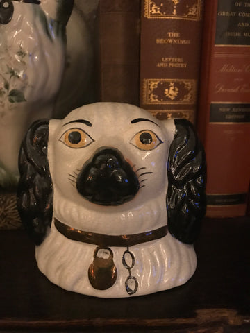 Vintage Staffordshire Black Cavalier  Spaniel Dog Head Money Bank - English Country Decor