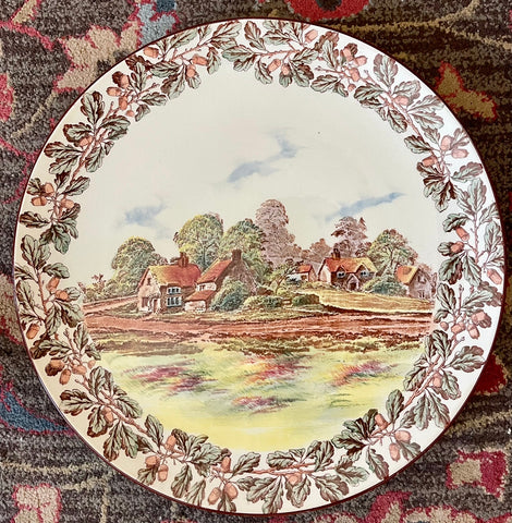 Hand Painted Transferware Charger Plaque Royal Doulton English Cottages w/ Acorn & Oak Leaf Border