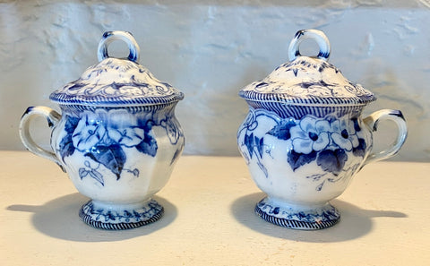 Rare Pair of Pots de Crème Botanical Antique 1860 Flow Blue English Transferware