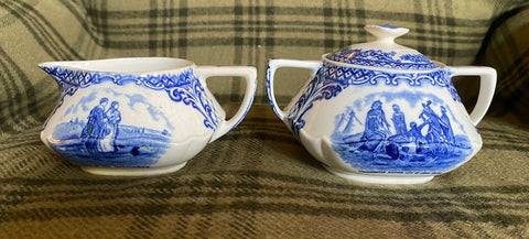 Crown Ducal Blue Transferware Pilgrim Finial Topped Sugar Bowl Indians John Smith and The Mayflower
