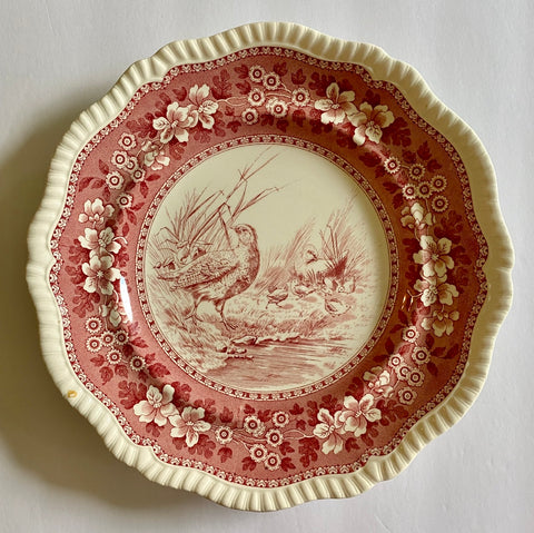 RARE Vintage Spode Copeland Tower Red Transferware Plate Game Bird Partridge No 5