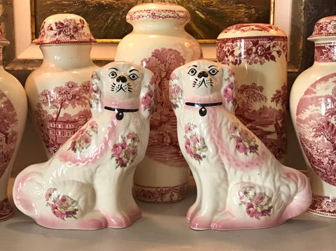 Vintage Rare Pair of Pink & Cream Shabby Roses Chintz English Staffordshire Spaniel Dog Figurines
