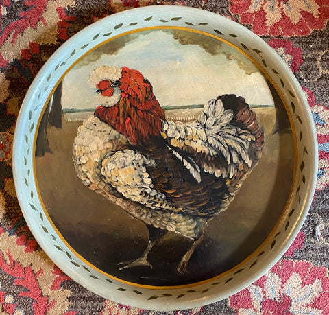 Huge Original Hand Painted Signed Jane Keltner Hen Rooster Tole Toleware Tray