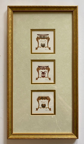 3 in 1 Matted & Gold Framed Wash Pitcher & Basin Bath Prints