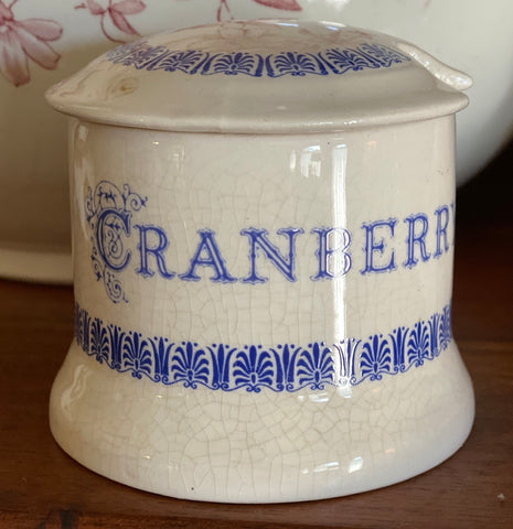 Vintage English Blue and White Transferware  Advertising Jar CRANBERRY Preserves Pot
