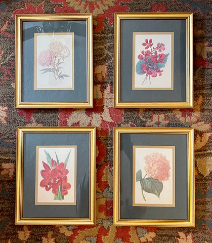 Vintage set of 4 Double Matted & Framed Pink Red Floral Botanical Redouté Prints