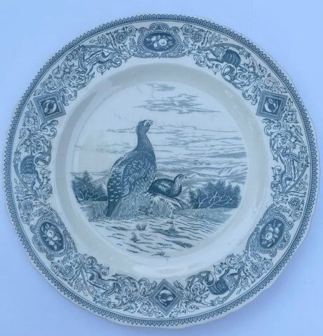 Dark Teal Blue Transferware Plate Masons Red Grouse Woodland Game Birds