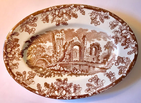 Victorian Tray Copeland Spode Antique Brown Transferware Platter Oak Leaves Acorns Abbey Ruins