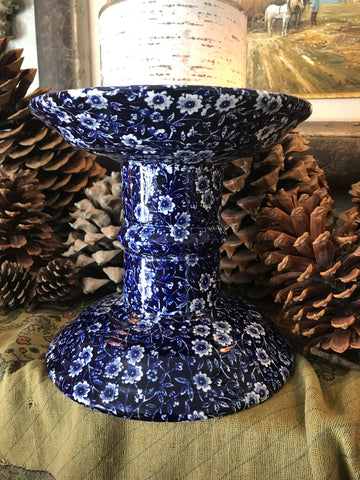 English Ironstone Blue Transferware Burgess Calico Ham Stand Counter Shop Display - Plant Holder - Candle Stand