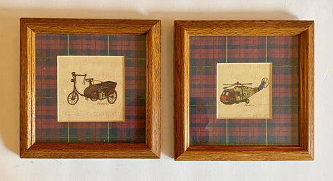 Pair Prof. Wood Framed Antique Helicopter & Trike Prints in Tartan Plaid Mats