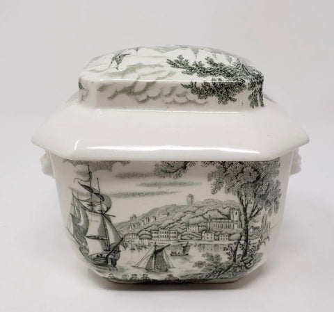 Transferware Tea Caddy Safe Harbour Ship Scene  Figural Face Shaped Handles Lidded Jar