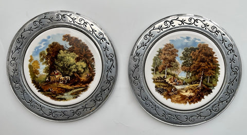 Pair of Antique Limoges JC Van Hunnick Pastoral Plaques in Pewter Frame