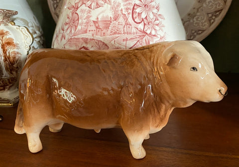 Vintage English Butcher Shop Display Cow /  Bull w/ Nose Ring Figurine