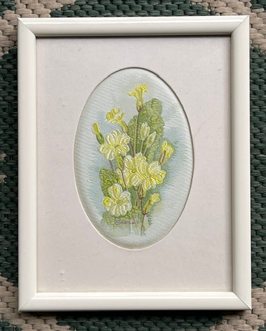 Vintage English Woven Silk Yellow Primrose Flowers Matted in Cream Frame