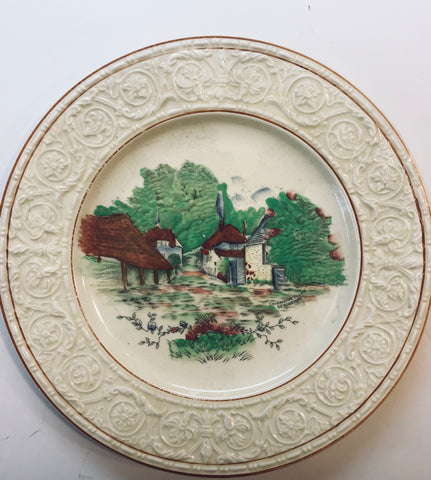 Transferware Plate English Thatched cottage Garden / Embossed Rim