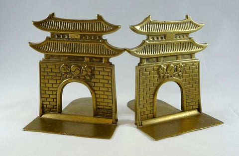 Pair of Vintage / Antique Brass Chinoiserie Pagoda Book Ends Bookends