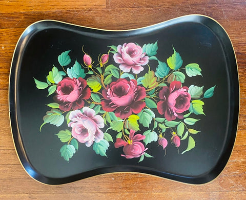 Vintage Black Tole Tray Toleware Hand Painted Pink Plum Burgundy Maroon Roses
