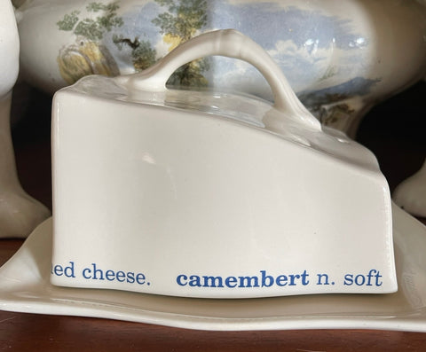 English Advertising Blue & White Ironstone Covered Cheese Dish Staffordshire England