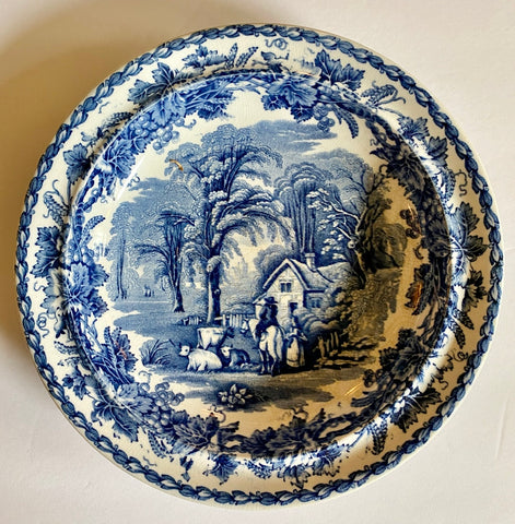 Vintage Blue Transferware Shallow Bowl Grapes Vines Grazing Cows Cattle Cottage Horse