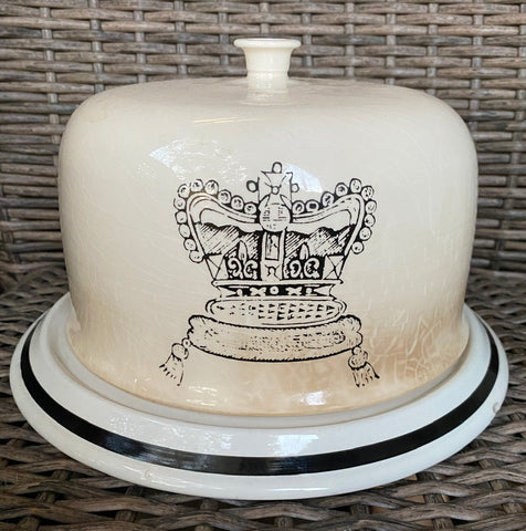 Antique Dairy Slab Advertising English Transferware Cheese Bell & Plate British Crown Jewels