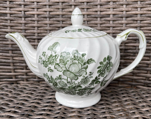 Vintage Staffordshire Green Transferware Teapot English Tea Pot Charlotte Victorian Basket of Flowers