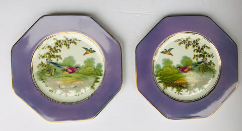 Pair R & L Wedgwood Lavender Bordered Octagon Pheasant Plate