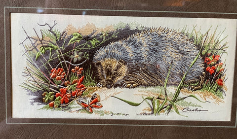Vintage English Woodland Hedgehog & Peacock Butterfly Woven Silk Matted & Gold Frame