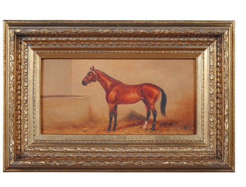 Ornately Framed Oil Painting Equestrian Horse in Stable - English Country Decor