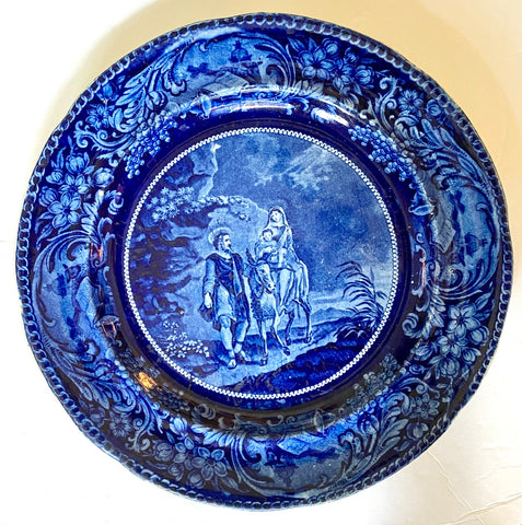 Joseph Mary & Jesus ca. 1825 Historic Staffordshire Dark Blue Transferware Plate Enoch Wood