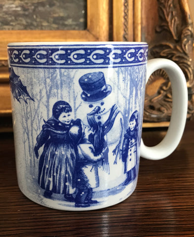 Spode  Blue English Transferware Plate Vintage Winter Victorian Children & Snowman