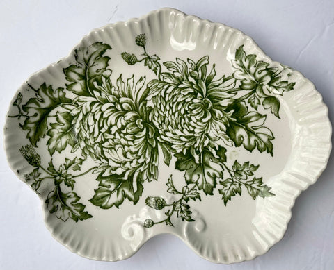 Green Transferware Serving Tray Platter Chrysanthemum Flowers RARE