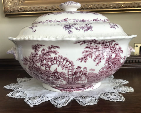 Large Mason's Romantic Purple Transferware Soup Tureen Oval Handled