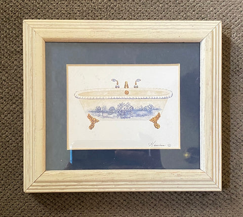 Blue & White French Toile Matted & Gold Framed Toile Claw Foot Bath Tub Print