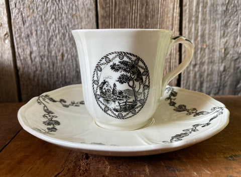 Antique Wedgwood Black Transferware  Cottage Acorn & Oak Leaf  Demitasse Cup & Saucer
