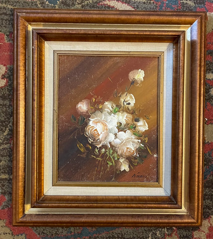 Vintage Signed Original Oil Painting Framed Bouquet Roses Linen Gilt Wood Frame #1