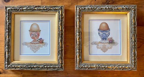 Pair Double Matted Gold Framed Victorian Egg Cups on Shelf Prints