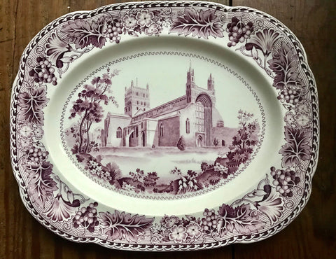 Circa 1930 Purple Aubergine Transferware Platter Tewkesbury Abbey w/ Vines & Grapes Border