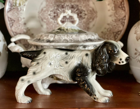 Large Vintage Black & White English Setter / Springer Spaniel Dog Figurine