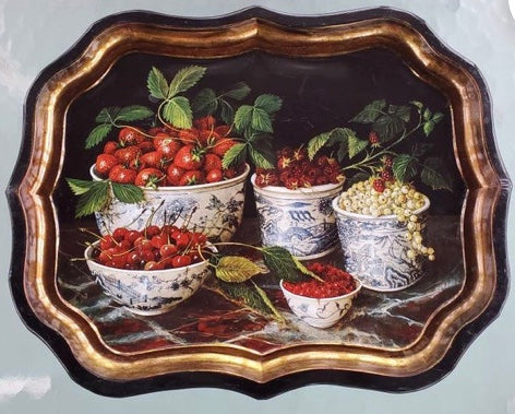 Vintage English Tole Tray Still Life Blue Willow Chinoiserie Transferware Bowls w/ fruit