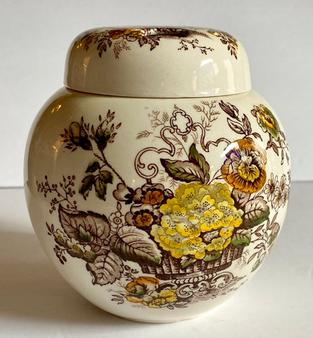 Brown English Transferware Potpourri  Ginger Jar Masons Ascot Flower Basket & Butterfly