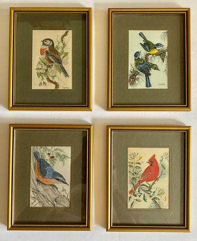 Vintage English Woven Silk Blue Tit Bird Matted in Gold Frame