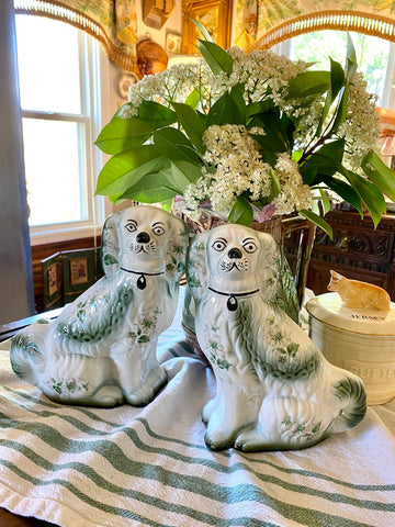 Vintage Rare Pair of Green & Cream Shabby Roses Chintz English Staffordshire Spaniel Dog Figurines