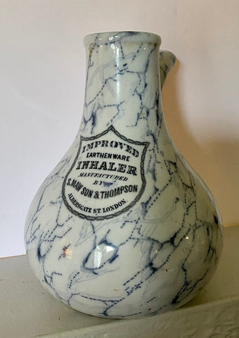 Antique 19C Medical Earthenware Inhaler Advertising Transferware London c 1890
