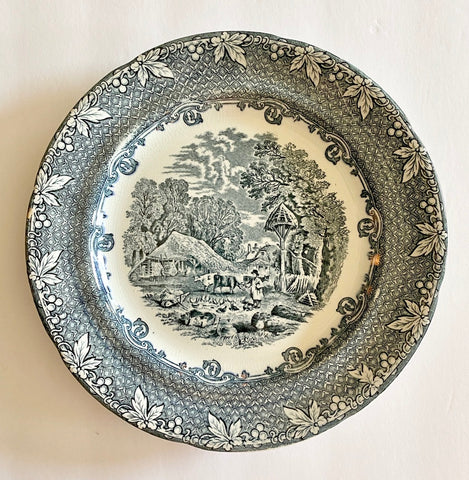 Circa 1890s Antique Staffordshire Navy Blue Black Transferware Plate Rural Scenes Farm Cows Pigs George Jones
