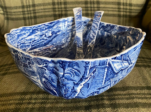 RARE Blue Transferware Salad Serving Bowl & TONGS Pastoral Berry Pickers / Cottage / Horse