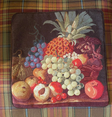 Basket of Fruit Colorful Needlepoint Petit Point Wool Pillow Cover