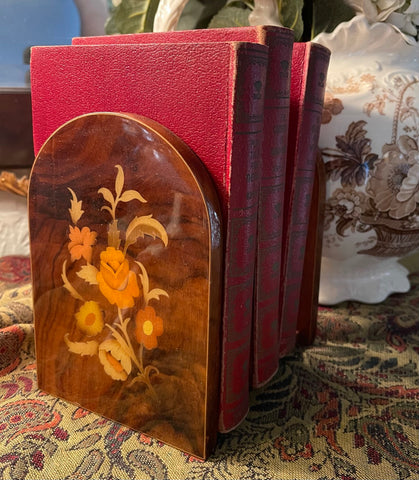 Pair Vintage Inlaid Wood Floral Inlay  Book Ends Bookends